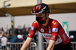 Race leader Tadej Pogacar (SLO) UAE Team Emirates heads to sign on before the start of Stage 3 of the 2021 UAE Tour running 166km from Al Ain to Jebel Hafeet, Abu Dhabi, UAE. 23rd February 2021.  <br /> Picture: Eoin Clarke | Cyclefile<br /> <br /> All photos usage must carry mandatory copyright credit (© Cyclefile | Eoin Clarke)
