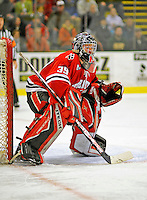 19 January 2008: Northeastern University Huskies' goaltender Brad Thiessen, a Sophomore from Aldergrove, British Columbia, in action against the University of Vermont Catamounts at Gutterson Fieldhouse in Burlington, Vermont. The Catamounts defeated the Huskies 5-2 to close out their 2-game weekend series...Mandatory Photo Credit: Ed Wolfstein Photo