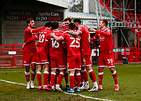 10th January 2021; Broadfield Stadium, Crawley, Sussex, England; English FA Cup Football, Crawley Town versus Leeds United; Ashley Nadesan of Crawley celebrates as he scores their second goal for 2-0 in the 53rd minute
