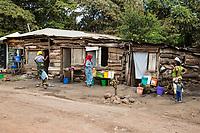 Tanzania.  Mto wa Mbu. Poor Housing on a Side Street.
