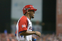 11 March 2009: #43 Hiram Bocachica of Puerto Rico smiles as he scores during the 2009 World Baseball Classic Pool D game 6 at Hiram Bithorn Stadium in San Juan, Puerto Rico. Puerto Rico wins 5-0 over the Netherlands