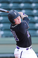 Left fielder Griffin Davis (21) of the Furman University Paladins in a game against the Toledo Rockets on Sunday, February 16, 2013, at Fluor Field at the West End in Greenville, South Carolina. The game was part of the First Pitch Invitational. (Tom Priddy/Four Seam Images)
