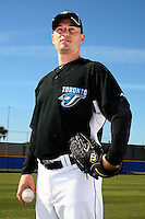 March 1, 2010:  Pitcher Jason Fraser (54) of the Toronto Blue Jays poses for a photo during media day at Englebert Complex in Dunedin, FL.  Photo By Mike Janes/Four Seam Images