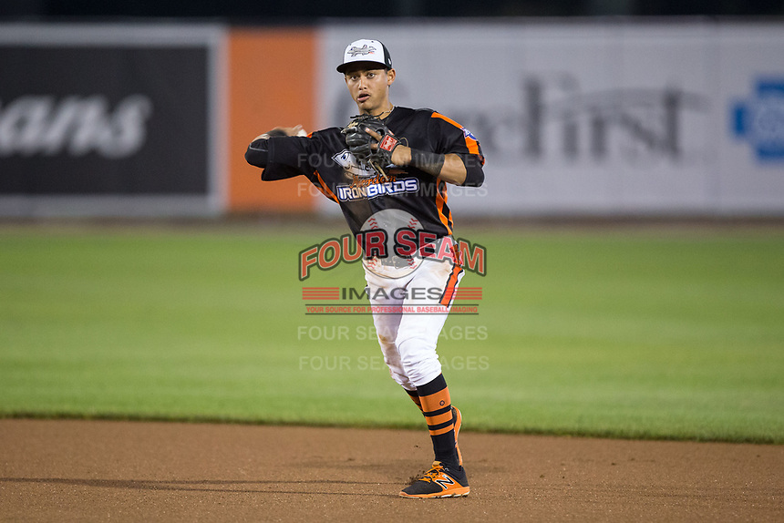Aberdeen IronBirds second baseman Irving Ortega (13) makes a throw to first base against the Hudson Valley Renegades at Leidos Field at Ripken Stadium on July 27, 2017 in Aberdeen, Maryland.  The IronBirds defeated the Renegades 3-0 in game two of a double-header.  (Brian Westerholt/Four Seam Images)