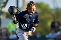 Tampa Tarpons Benjamin Cowles (28) after hitting a home run during Game Two of the Low-A Southeast Championship Series against the Bradenton Marauders on September 22, 2021 at LECOM Park in Bradenton, Florida.  (Mike Janes/Four Seam Images)