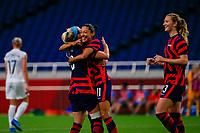 SAITAMA, JAPAN - JULY 24: Christen Press #11 of the United States celebrates scoring during a game between New Zealand and USWNT at Saitama Stadium on July 24, 2021 in Saitama, Japan.