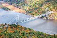 The Bear Mountain Bridge spanning the Hudson River in Autumn