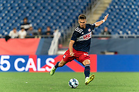 FOXBOROUGH, MA - AUGUST 5: Colin Verfurth #35 of New England Revolution II passes the ball during a game between North Carolina FC and New England Revolution II at Gillette Stadium on August 5, 2021 in Foxborough, Massachusetts.