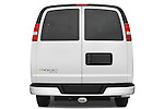 Straight rear view of a 2008 chevrolet express 3500 passenger van