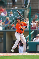 Norfolk Tides center fielder Mike Yastrzemski (3) at bat during a game against the Rochester Red Wings on July 17, 2016 at Frontier Field in Rochester, New York.  Rochester defeated Norfolk 3-2.  (Mike Janes/Four Seam Images)