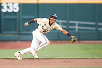 Vanderbilt Commodores third baseman Austin Martin (16) on defense during Game 12 of the NCAA College World Series against the Louisville Cardinals on June 21, 2019 at TD Ameritrade Park in Omaha, Nebraska. Vanderbilt defeated Louisville 3-2. (Andrew Woolley/Four Seam Images)