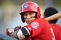 Auburn Doubledays designated hitter Andres Martinez (32) during a game against the Mahoning Valley Scrappers on June 19, 2016 at Falcon Park in Auburn, New York.  Mahoning Valley defeated Auburn 14-3.  (Mike Janes/Four Seam Images)