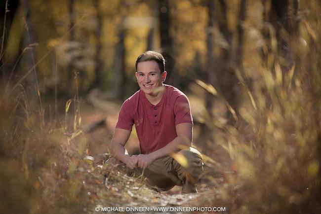 Senior Portrait for South High Senior Jordan Hakala in BiCentennial Park in the fall and autiumn colors