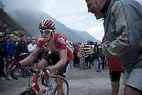 Jurgen Van den Broeck (BEL/Lotto-Soudal) up the dirt roads of the Colle delle Finestre (2178m)<br /> <br /> Giro d'Italia 2015<br /> stage 20: Saint Vincent - Sestriere (199km)