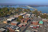 Downtown Guntersville with lake and bridge
