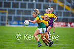 Niamh Ní Chonchúir of Kerry gets past Wexford's Roisin Murphy as she for goal, in the Lidl LGFA National football league game in Fitzgerald Stadium Killarney on Sunday.