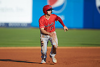 Nick Senzel (12) of the Louisville Bats takes off for third base during the game against the Toledo Mud Hens at Fifth Third Field on June 16, 2018 in Toledo, Ohio. The Mud Hens defeated the Bats 7-4.  (Brian Westerholt/Four Seam Images)
