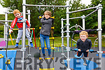 Enjoying the first day back in the Cahersiveen Playground on Tuesday were l-r; Jack O'Shea, Dylan O'Driscoll & Joseph O'Shea.