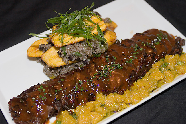 Char sui Beef Short Ribs, Congre Tostones, Chili Orange Majo.Asia De Cuba Restaurant, New York, New York