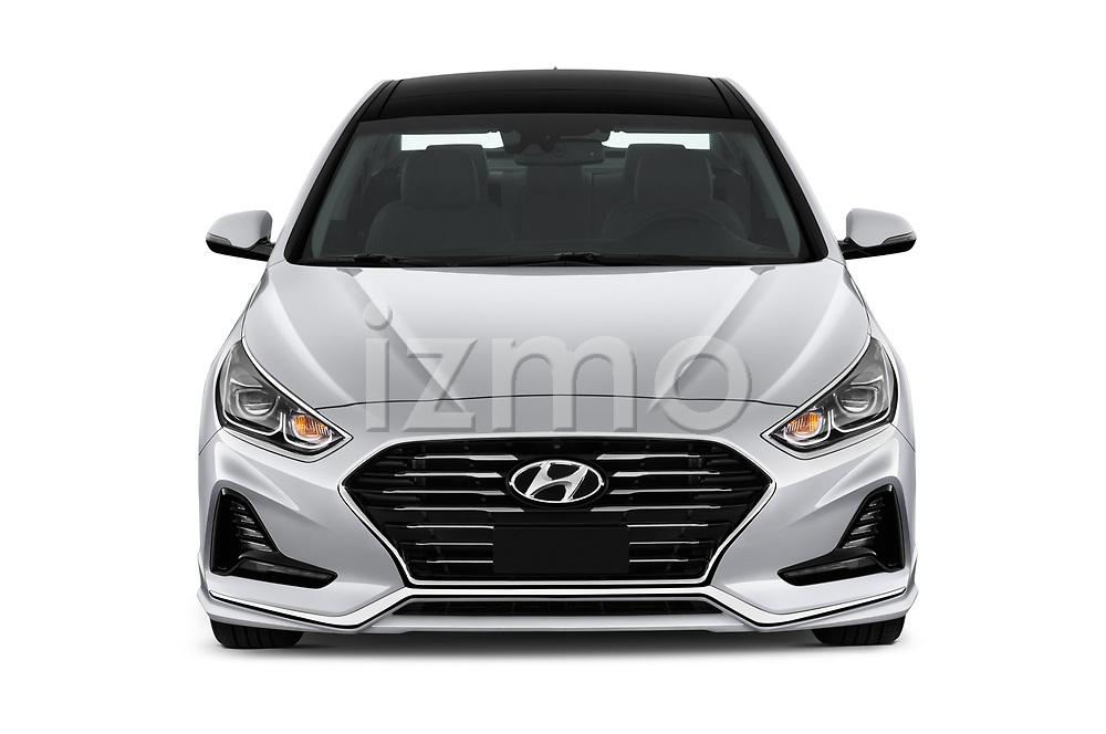 Car photography straight front view of a 2018 Hyundai Sonata Hybrid Limited 4 Door Sedan