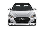 Car photography straight front view of a 2018 Hyundai Sonata Hybrid Limited 4 Door Sedan