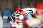 MARTELL-VAL MARTELLO, ITALY - FEBRUARY 03: Athlete at the shooting range during the Men 12.5 km Pursuit at the IBU Cup Biathlon 6 on February 03, 2013 in Martell-Val Martello, Italy. (Photo by Dirk Markgraf)