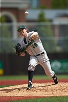 Marshall Thundering Herd starting pitcher Parker Danciu (18) delivers a pitch to the plate against the Charlotte 49ers at Hayes Stadium on April 23, 2016 in Charlotte, North Carolina. The Thundering Herd defeated the 49ers 10-5.  (Brian Westerholt/Four Seam Images)