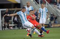 Action photo during the match Argentina vs Chile, Corresponding Group -D- America Cup Centenary 2016, at Levis Stadium<br /> <br /> Foto de accion durante el partido Argentina vs Chile, Correspondiante al Grupo -D-  de la Copa America Centenario USA 2016 en el Estadio Levis, en la foto: (i-d) Ramiro Funes Mori, Javier Mascherano de Argentina y Alexis Sanchez de Chile<br /> <br /> <br /> 06/06/2016/MEXSPORT/David Leah.