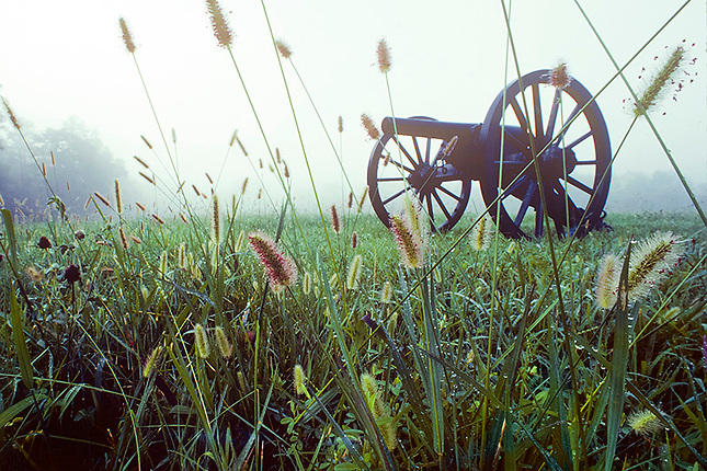 Morning fog on battlefield