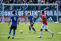 SAN JOSE, CA - APRIL 24: Florian Jungwirth #23 of the San Jose Earthquakes passes the ball during a game between FC Dallas and San Jose Earthquakes at PayPal Park on April 24, 2021 in San Jose, California.