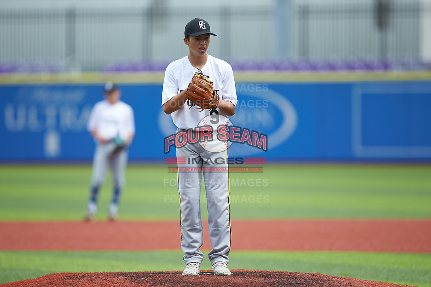Wells Hutson (9) of Rocky Mount Academy in Nashville, NC during the Atlantic Coast Prospect Showcase hosted by Perfect Game at Truist Point on August 22, 2020 in High Point, NC. (Brian Westerholt/Four Seam Images)
