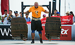 HAINAN ISLAND, CHINA - AUGUST 23:  Hafthor Bjornsson of Iceland competes at the Super Yoke event during the World's Strongest Man competition at Serenity Marina on August 23, 2013 in Hainan Island, China.  Photo by Victor Fraile
