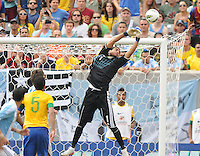 Argentina goalkeeper Sergio Romero (1) goes up to make a save. The Argentina National Team defeated Brazil 4-3 at MetLife Stadium, Saturday July 9 , 2012.