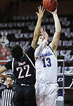 SIOUX FALLS, SD - MARCH 6: Luke Appel #13 of the South Dakota State Jackrabbits shoots over Marco Smith #22 of the Nebraska-Omaha Mavericks during the Summit League Basketball Tournament at the Sanford Pentagon in Sioux Falls, SD. (Photo by Richard Carlson/Inertia)