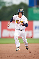 Burlington Bees third baseman Hutton Moyer (7) during a game against the Bowling Green Hot Rods on May 7, 2016 at Community Field in Burlington, Iowa.  Bowling Green defeated Burlington 11-1.  (Mike Janes/Four Seam Images)