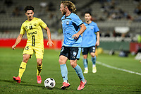 8th February 2021; Jubilee Stadium, Sydney, New South Wales, Australia; A League Football, Sydney Football Club versus Wellington Phoenix; Rhyan Grant of Sydney looks for options as Mirza Muratovic of Wellington Phoenix closes in