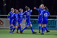 Hanne Merkelbach (25) of KRC Genk scores 1-0 and Genk can celebrate during a female soccer game between  Racing Genk Ladies and Eendracht Aalst on the 15 th matchday of the 2020 - 2021 season of Belgian Scooore Womens Super League , friday 5 th of March 2021  in Genk , Belgium . PHOTO SPORTPIX.BE   SPP   STIJN AUDOOREN