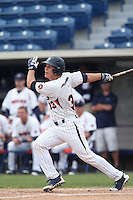 Aaron Barnett #33 of the Pepperdine Waves bats against the BYU Cougars at Eddy D. Field Stadium on April 10, 2014 in Malibu, California. BYU defeated Pepperdine, 1-0. (Larry Goren/Four Seam Images)