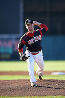 Batavia Muckdogs pitcher Dillon Peters (49) delivers a pitch during a game against the Lowell Spinners on August 12, 2015 at Dwyer Stadium in Batavia, New York.  Batavia defeated Lowell 6-4.  (Mike Janes/Four Seam Images)