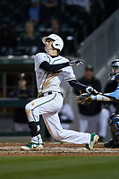 Hunter Jones (33) of the Charlotte 49ers follows through on his swing against the North Carolina Tar Heels at BB&T BallPark on March 27, 2018 in Charlotte, North Carolina. The Tar Heels defeated the 49ers 14-2. (Brian Westerholt/Four Seam Images)