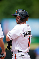 Bowie Baysox Ryan McKenna (1) on first base after getting walked during an Eastern League game against the Akron RubberDucks on May 30, 2019 at Prince George's Stadium in Bowie, Maryland.  Akron defeated Bowie 9-5.  (Mike Janes/Four Seam Images)
