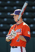 Outfielder Jeff Schaus (3) of the Clemson Tigers prior to a game against the Michigan State Spartans Saturday, Feb. 20, 2010, at Fluor Field at the West End in Greenville, S.C. Photo by: Tom Priddy/Four Seam Images
