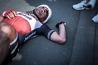 John DEGENKOLB (DEU/Trek-Segafredo) finishes a strong 2nd and crashes to the ground (from the effort) after finishing <br /> <br /> 82nd Gent – Wevelgem in Flanders Fields 2019 (1.UWT)<br /> Deinze – Wevelgem: 251,5km<br /> ©kramon