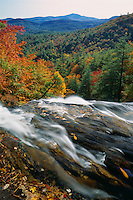 Blue Valley from lip of Glenn Falls<br /> Nantahala National Forest<br /> Blue Ridge Mountains<br /> Macon County,  North Carolina