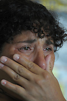 Maricel Gomez cries while telling her story at the Mothers of Paco headquartes in Lomas de Zamora