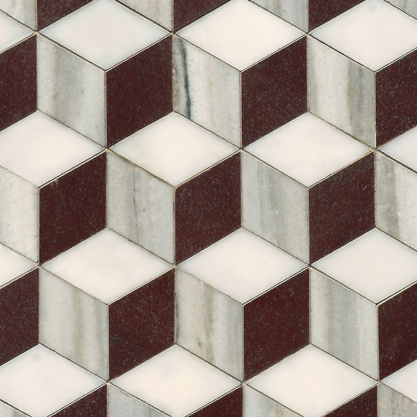 Euclid Grand, a hand-cut mosaic, shown in polished Red Lake, polished Afyon White, and honed Horizon, is part of the Illusions® collection by New Ravenna.