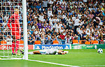 Cristiano Ronaldo of Real Madrid lies on the pitch in front of the APOEL FC's gate as goalkeeper Boy Waterman of APOEL FC looks on during the UEFA Champions League 2017-18 match between Real Madrid and APOEL FC at Estadio Santiago Bernabeu on 13 September 2017 in Madrid, Spain. Photo by Diego Gonzalez / Power Sport Images