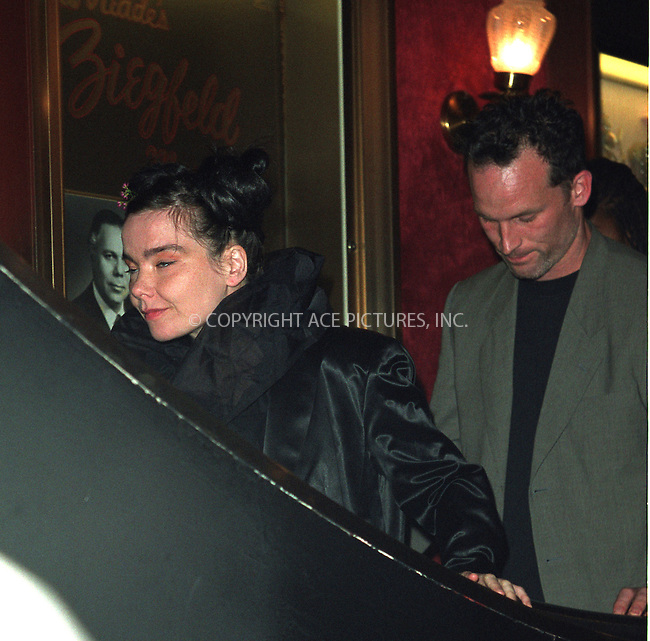 """Bjork and her boyfriend--director Matthew Barney arrive at the premiere of Mr. Barney's """"Cremaster 3"""" a the Ziegfeld Theater in New York. May 1, 2002. There are unverified rumors circulating around the town that Bjork is pregnant. Please byline: Alecsey Boldeskul/NY Photo Press.   ..*PAY-PER-USE*      ....NY Photo Press:  ..phone (646) 267-6913;   ..e-mail: info@nyphotopress.com"""