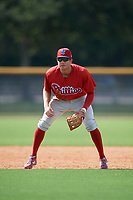 Philadelphia Phillies Cole Stobbe (7) during a Florida Instructional League game against the New York Yankees on October 11, 2018 at Yankee Complex in Tampa, Florida.  (Mike Janes/Four Seam Images)