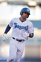 Tampa Tarpons left fielder Isiah Gilliam (24) rounds the bases after hitting a home run in the bottom of the third inning during a game against the Daytona Tortugas on April 18, 2018 at George M. Steinbrenner Field in Tampa, Florida.  Tampa defeated Daytona 12-0.  (Mike Janes/Four Seam Images)